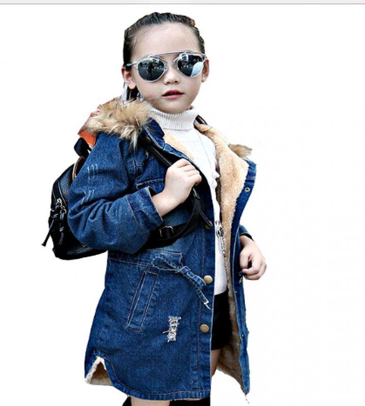 Зимние детские джинсовые куртки для девочек с капюшоном.