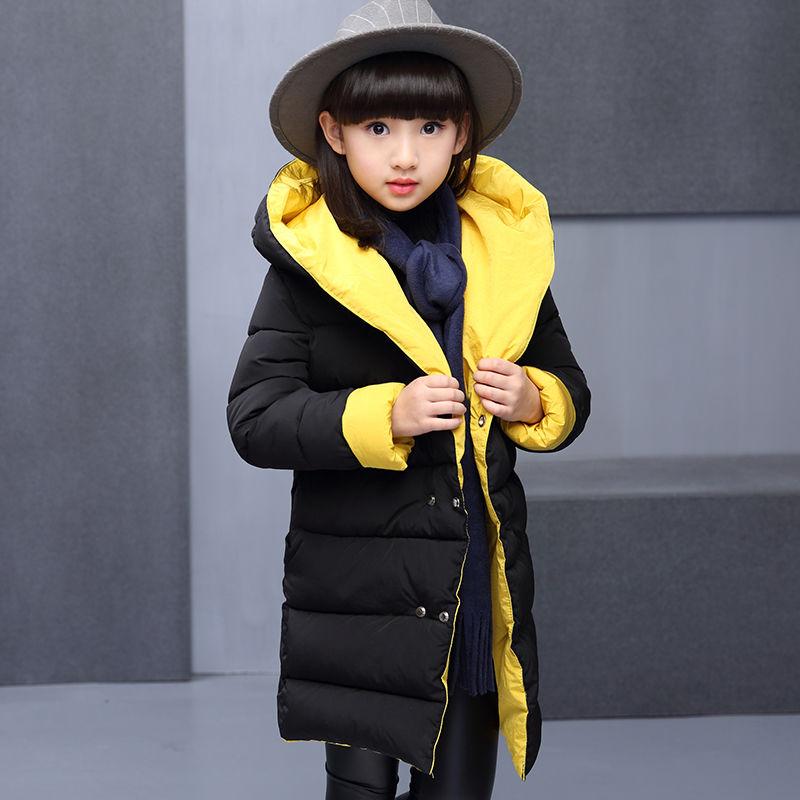 Подростковая зимняя, толстая, длинная парка с капюшоном для девочки.