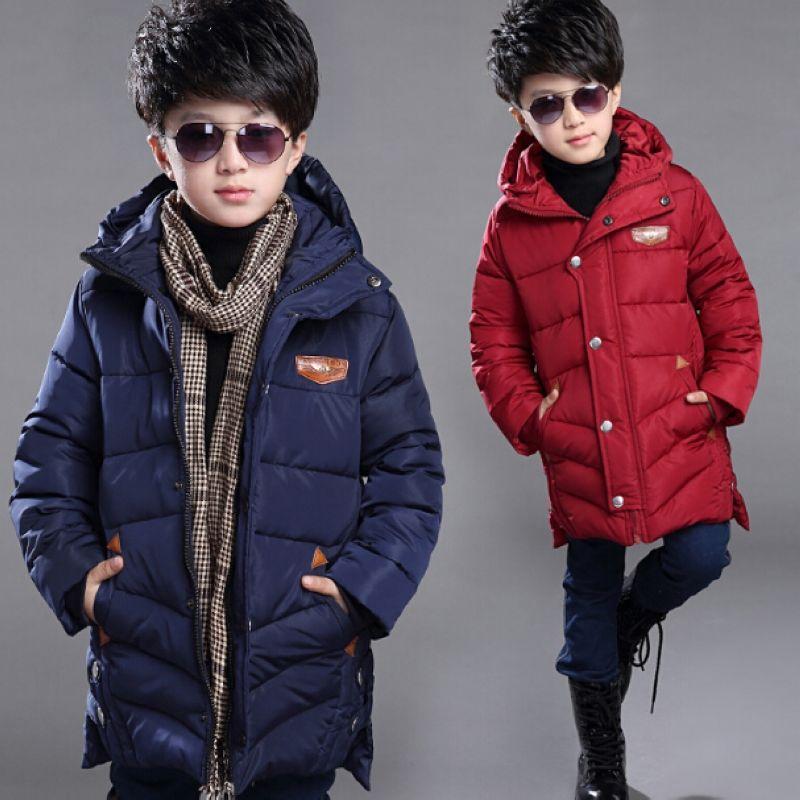 Зимняя пуховая детская куртка с капюшоном для мальчиков.