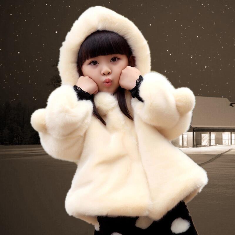 Искусственный мех флис пальто с капюшоном для девочки.