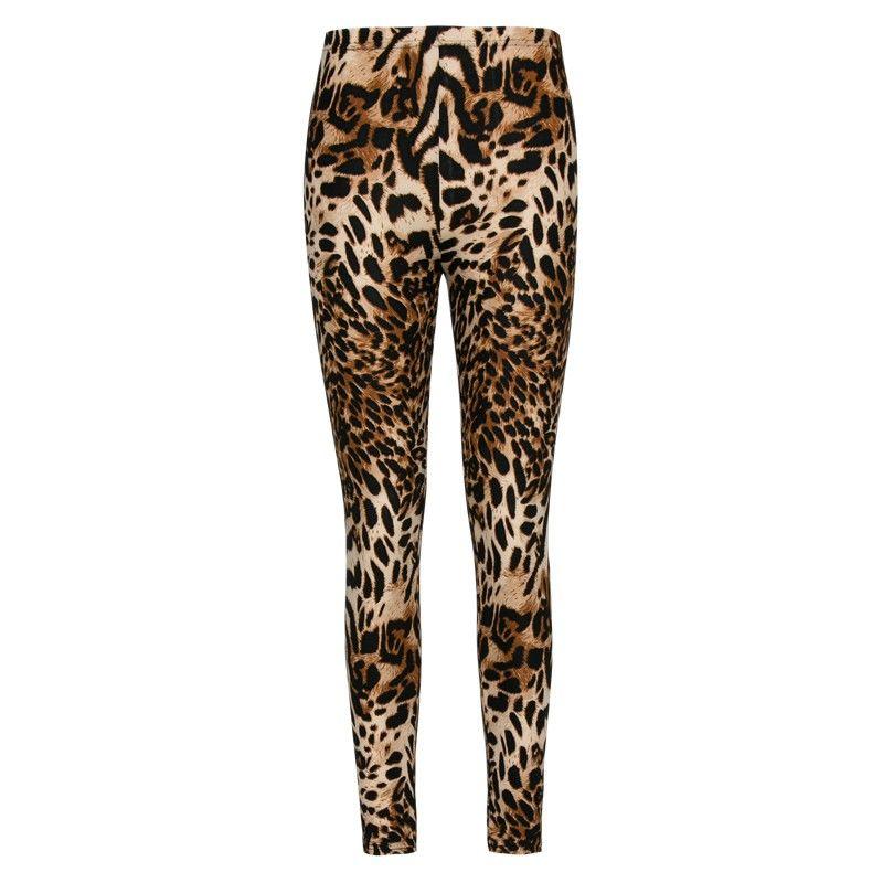 Модные узкие леопардовые женские леггинсы.