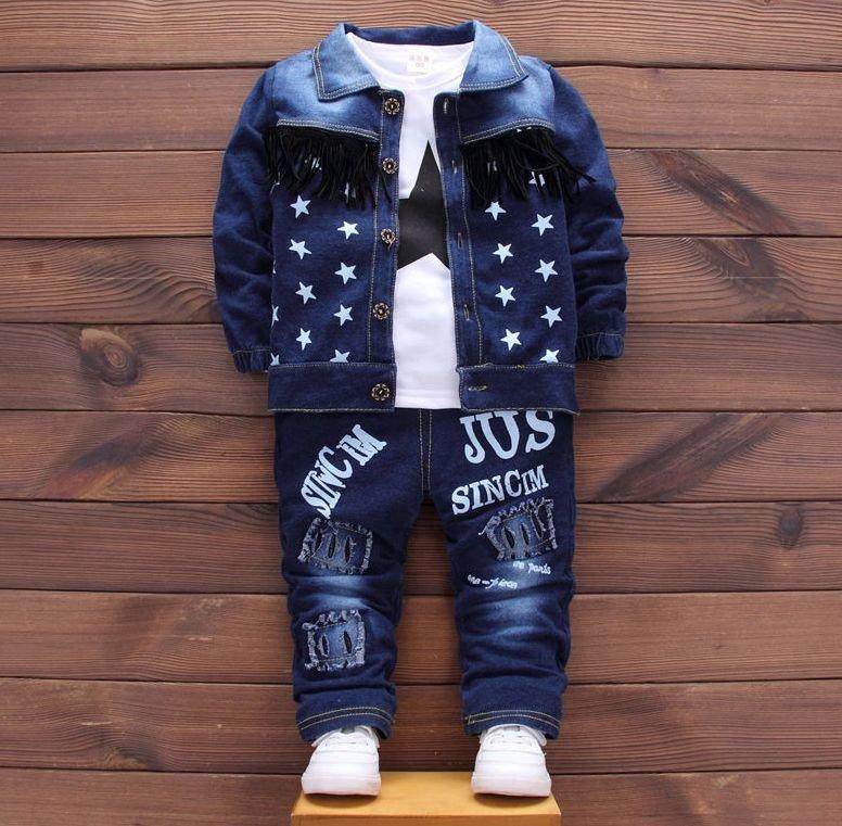 (3 в 1) Джинсовый спортивный костюм для мальчиков-(Звезда).