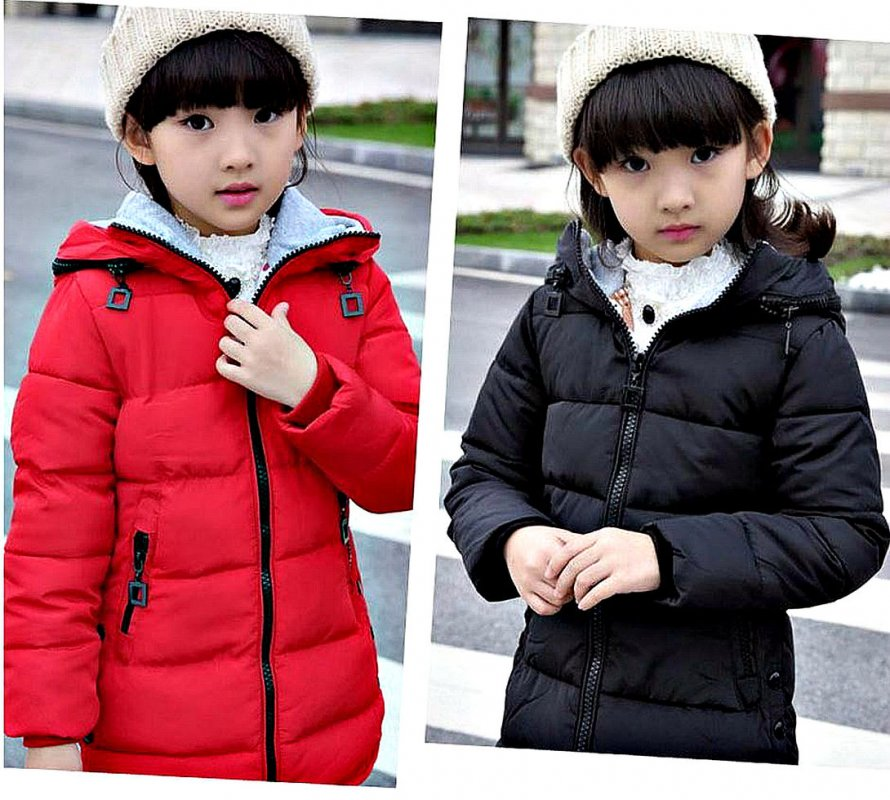 Зимние длинные теплые парки на хлопковой подкладке для девочек с капюшоном (4-14 лет)