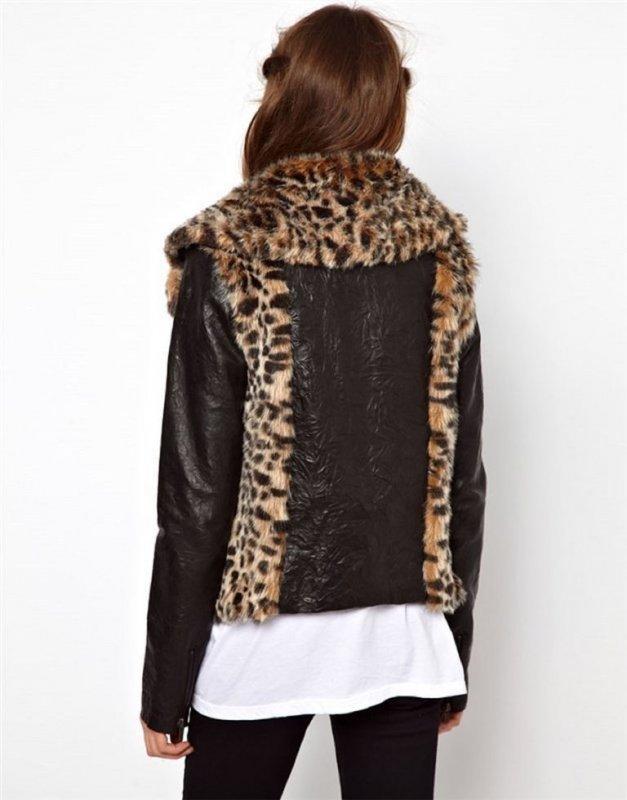 Европейская и Американская брендовая-зимняя куртка для леди с кожаным рукавом.