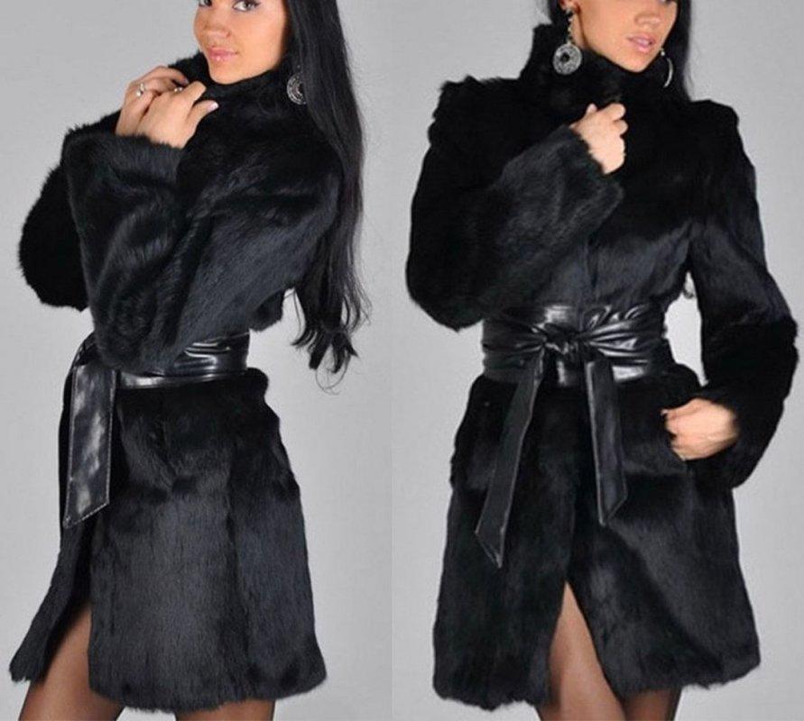 Модная с кожаным ремнем, толстая теплая куртка для женщин