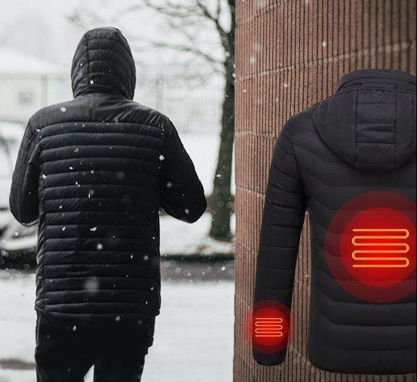 Зимняя, теплая куртка с Инфракрасным обогревом и капюшоном.