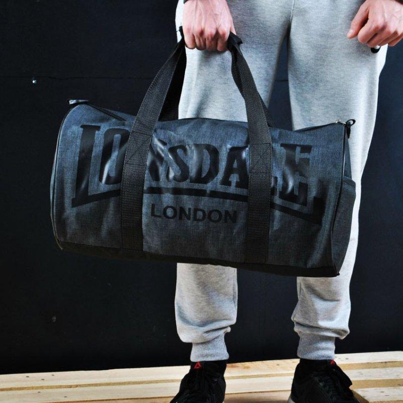 Сумка для спорту Lonsdale London. Для тренувань. Сіра з чорним.