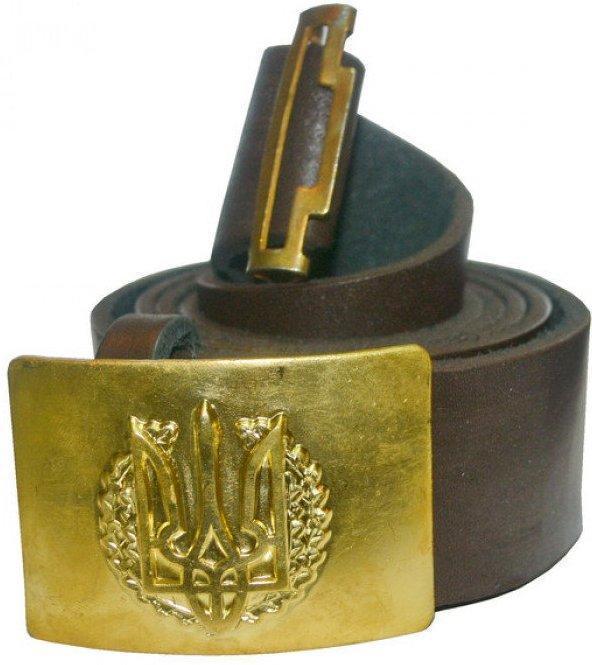 Купить Армейские ремни кожаные с пряжкой латунь с гербом, №0 р и др.