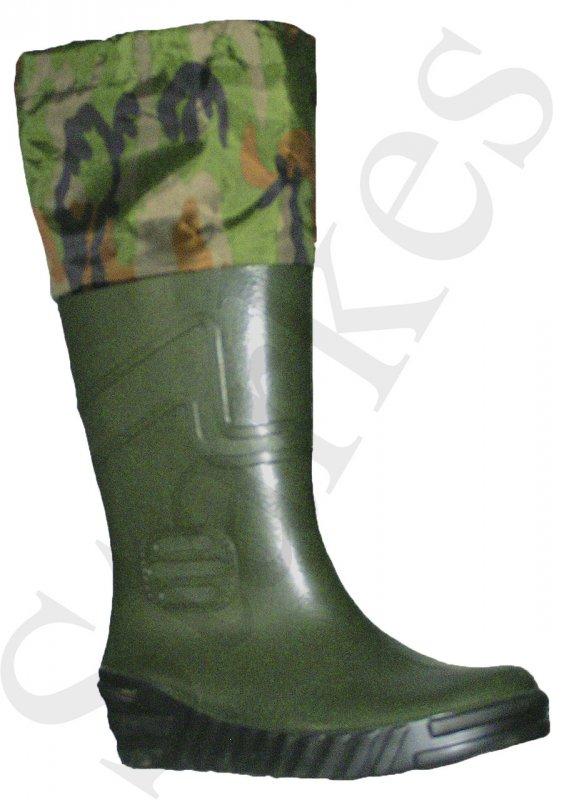 Купить Сапоги резиновые зеленые с надставкой камуфляж