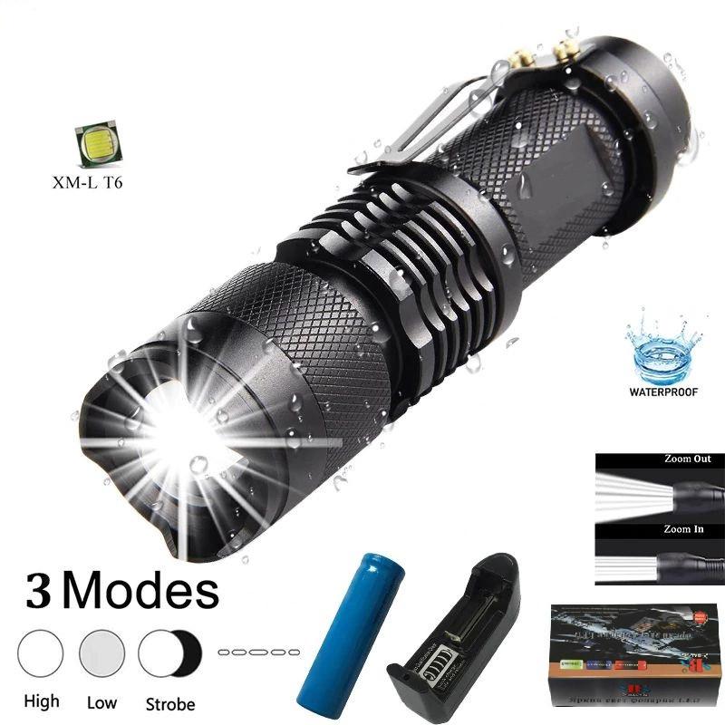 Купить Тактический карманный фонарь Bailong BL-1812-T6 zoom, зажим, полный комплект