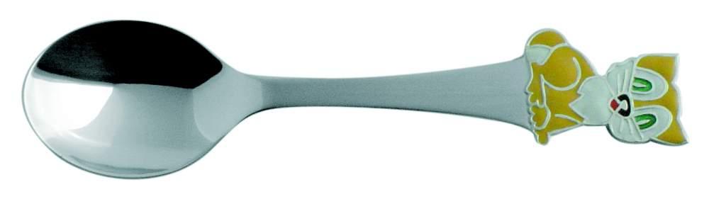Ложка детская  Кот-часы  из серебра 925 пробы с эмалью 12851210
