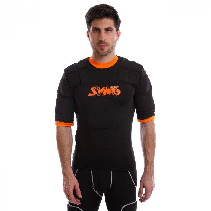 Купить Футболка для регби с защитой SYN6 SS402 (р-р L-XL, черный-оранжевый)