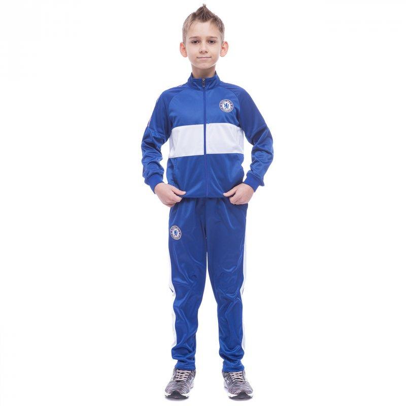 Купить Костюм спортивный детский Клубный CHELSEA LD-6131K-CH1 (полиэстер, флис, р-р 26-32, синий-белый)