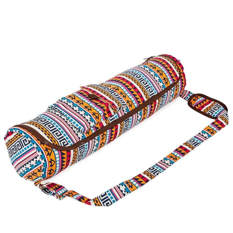 Купить Сумка для йога коврика Yoga bag KINDFOLK FI-8362-1 (размер 17смх72см, полиэстер, хлопок, оранжевый-голубой)
