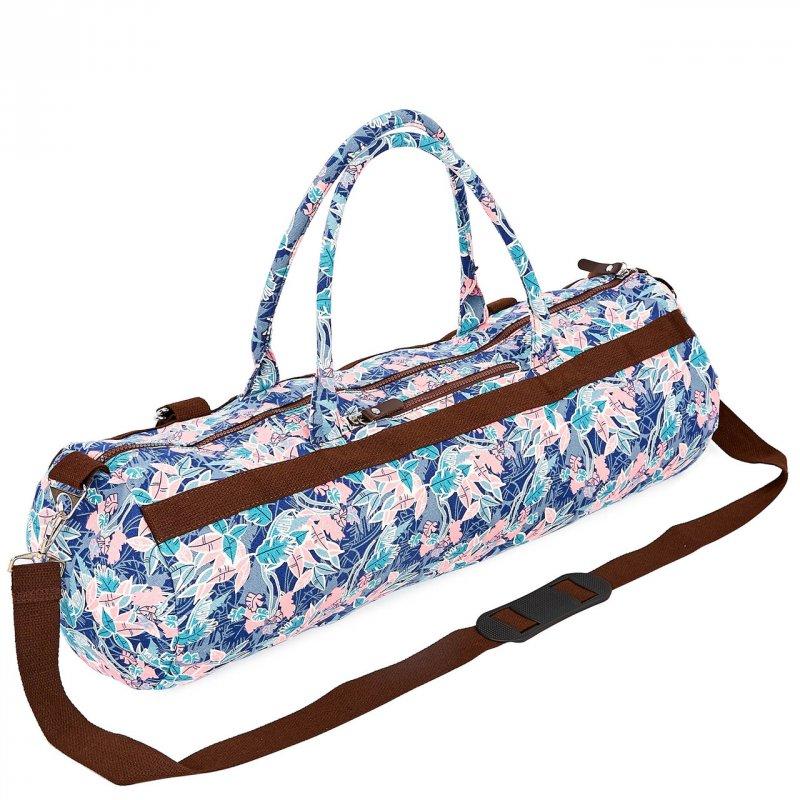 Купить Сумка для йога коврика Yoga bag KINDFOLK FI-6969-5 (размер 20смх65см, полиэстер, хлопок, розовый-голубой)
