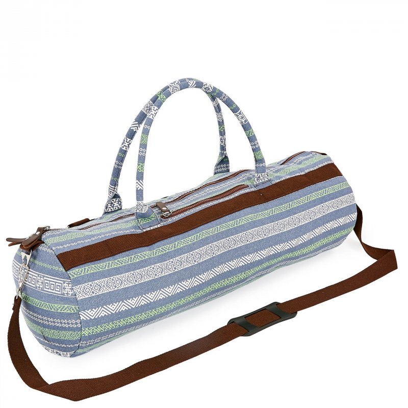 Купить Сумка для йога коврика Yoga bag KINDFOLK FI-6969-6 (размер 20смх65см, полиэстер, хлопок, серый-синий)