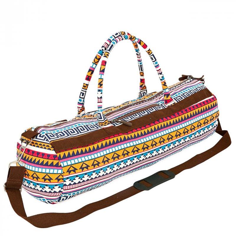 Купить Сумка для йога коврика Yoga bag KINDFOLK FI-6969-4 (размер 20смх65см, полиэстер, хлопок, оранжевый-голубой)