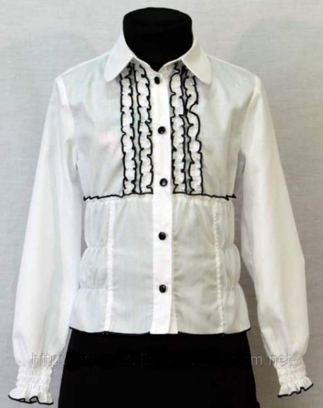 Школьная блузка для девочки атлас 15