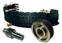 Шестерни, валы, вал-шестерни, оси, колеса зубчатые, рейки механизма изменения вылета стрелы, блоки канатные