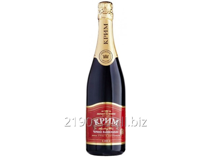 """Купить Вино игристое (Шампанское) """"Выдержанное полусладкое красное"""" KrimSekt"""
