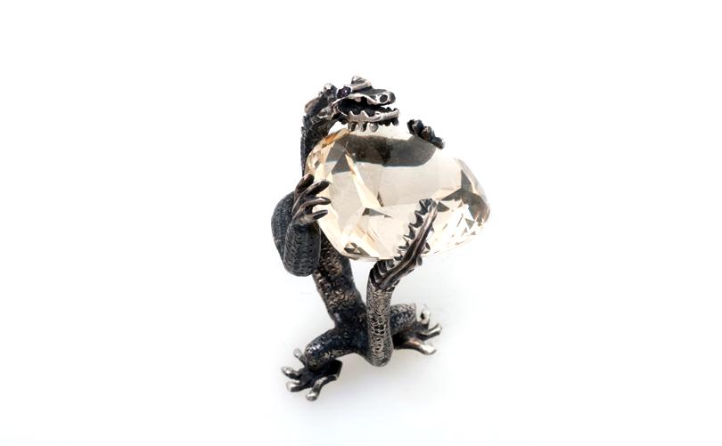 Кольцо статуэтка Дракон с цитрином