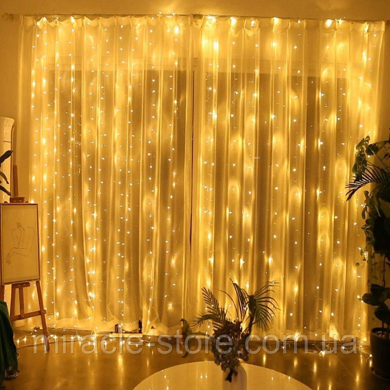Купить Гирлянда штора водопад 280 LED 2м/2м теплый цвет на прозрачном проводе