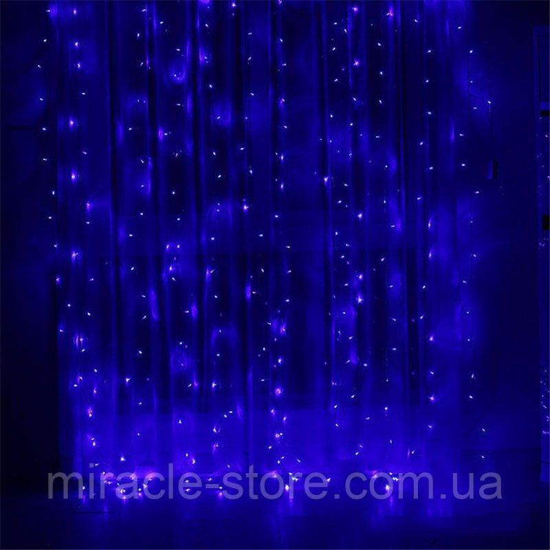 Купить Гирлянда штора водопад 280 LED 2м/2м на прозрачном проводе Синий