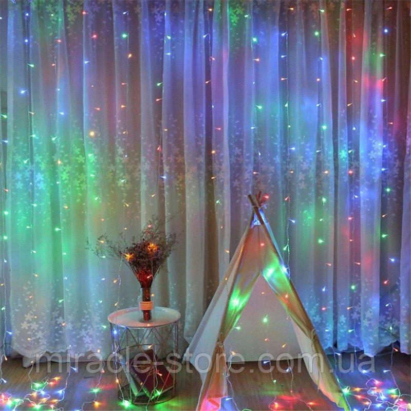Купить Гирлянда штора водопад 320 LED 3м/2м на прозрачном проводе Разноцвет