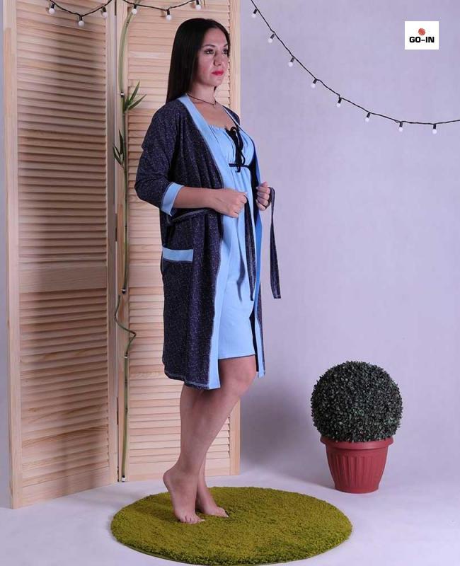 Купить Женский комплект халат на запах с ночной темно-синий р.42-54