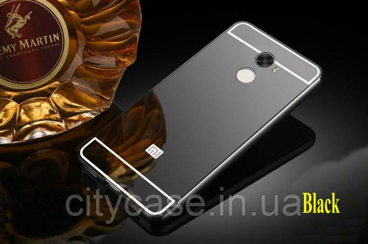 Купить Чехол-бампер для Xiaomi Redmi 4 металлический зеркальный (графитовый)