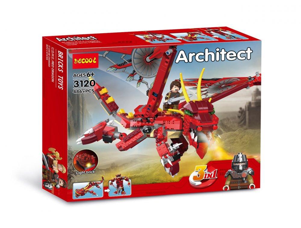 Купить Конструктор DECOOL 3120 CREATOR - Красный дракон 3в1 (486 дет.)