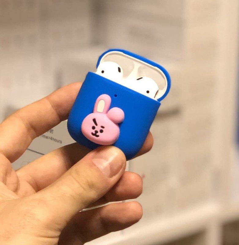 """Купить Силиконовый 3D-чехол TATA для наушников Apple AirPods 1/2 """"Animal Face"""" Blue"""