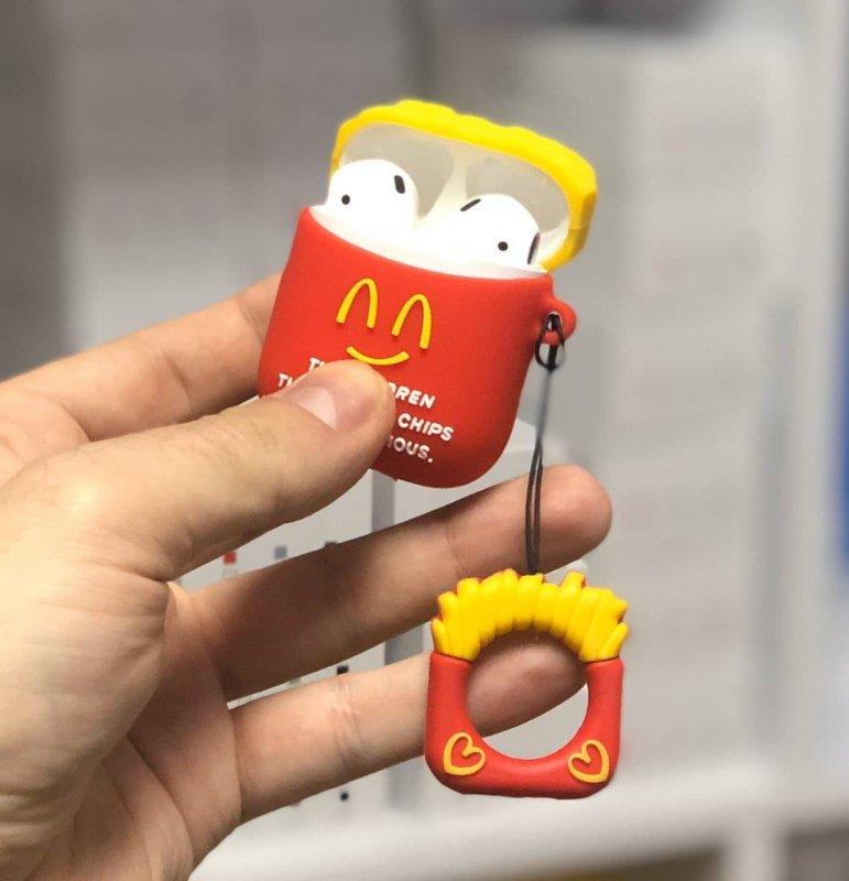 """Купить Силиконовый 3D-чехол OB4 для наушников Apple AirPods 1/2 с кольцом Фри """"McDonalds"""" Red"""