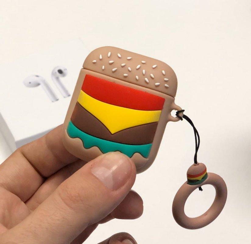 """Купить Силиконовый 3D-чехол OB4 для наушников Apple AirPods 1/2 с кольцом Бургер """"McDonalds"""" Beige"""