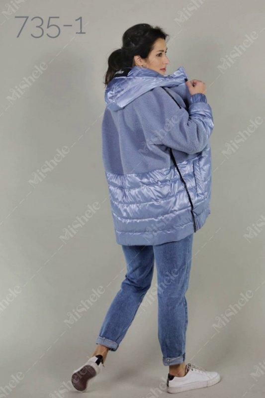 Купить Демисезонная комбинированная куртка Mishele 735-1 молочного цвета