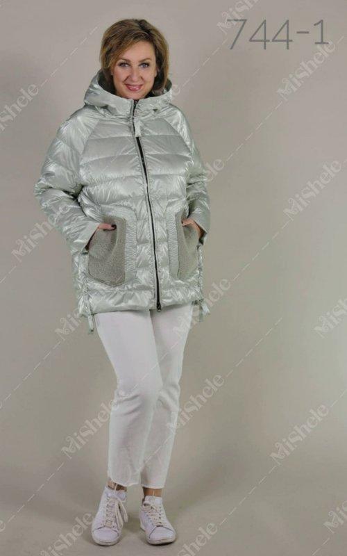 Купить Демисезонная комбинированная куртка Mishele 744-1 мятного цвета