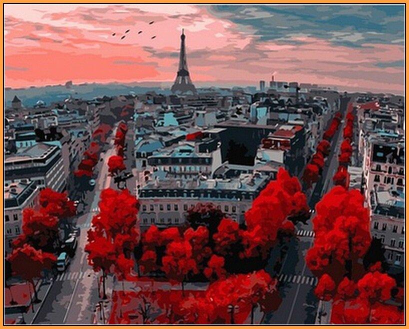 Купить NB833R Алые краски Парижа В рамке. Набор-картина по номерам (с багетной рамкой), В картонной коробке