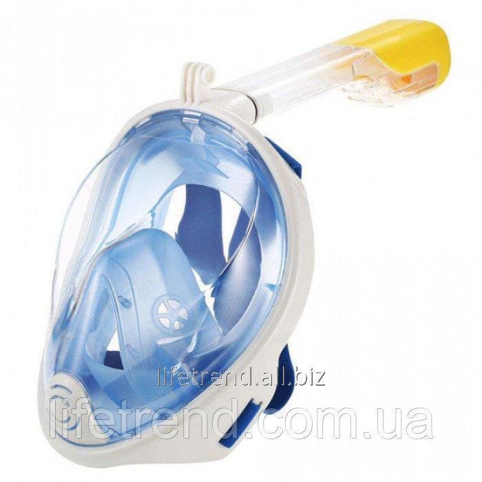 Купить Полнолицевая панорамная маска для плавания FREE BREATH (L/XL) M2068G с креплением для камеры Синий