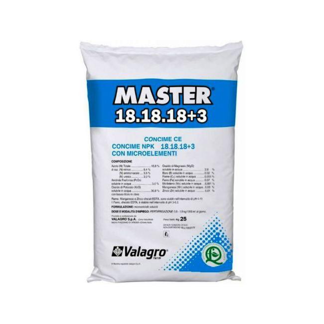 Купить Удобрение Мастер НПК 18.18.18+3 (Master NPK) Valagro - 25 кг