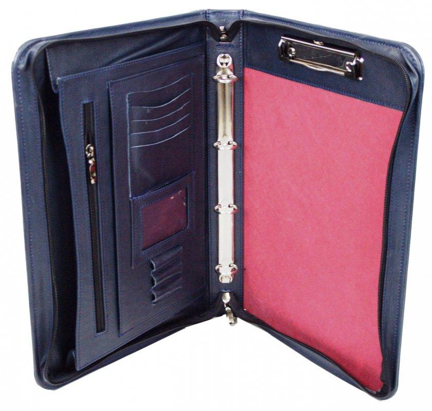 Купить Мужская кожаная деловая папка Portfolio Port1005 синяя