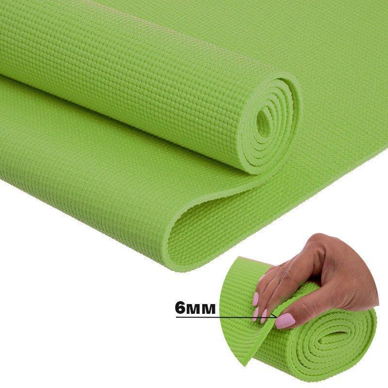 Купить Йога мат (коврик для фитнеса и йоги) плотный спортивный коврик (каремат) yoga mat зеленый