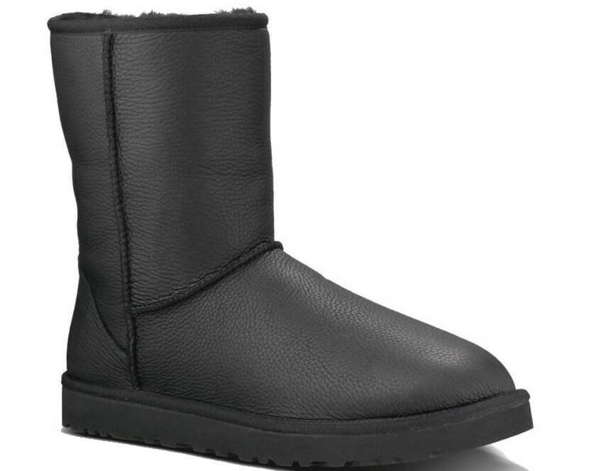 """Купить Женские UGG CLASSIC SHORT II LEATHER BOOT """"BLACK"""" 41 Черный (0382/41)"""