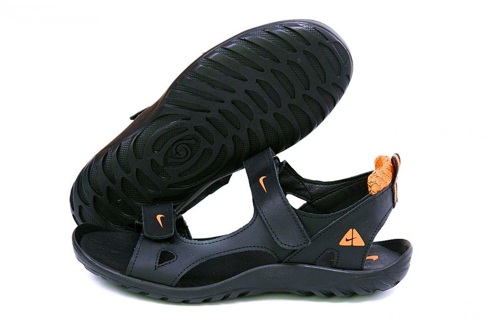 Купить Мужские кожаные сандалии Nike NS orange (реплика)
