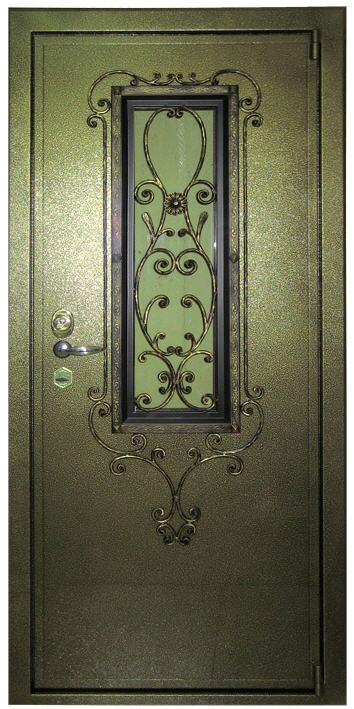 железные двери зеленые со стеклом