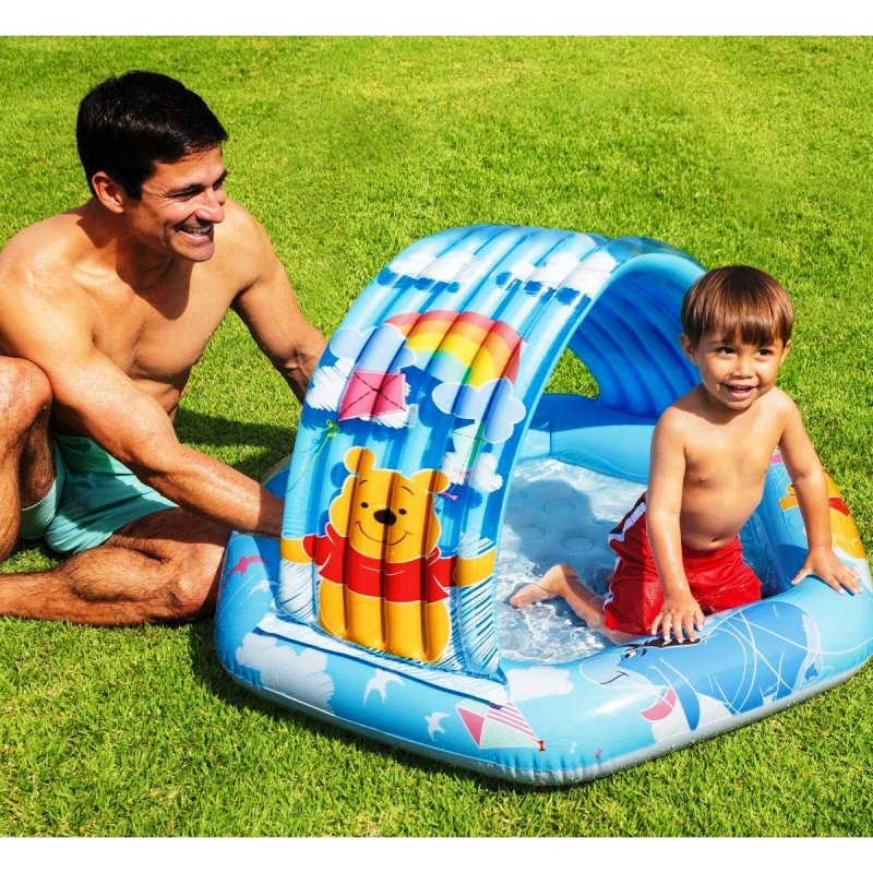 Купить Детский надувной бассейн Intex 58415 Винни Пух с навесом, надувное дно, 109 х 102 х 71 см