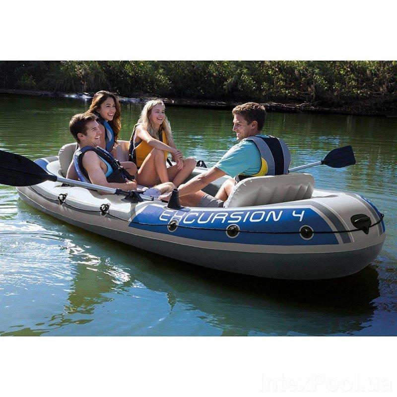 Купить Надувная лодка Четырехместная Intex 68324 Excursion 4 Set, 315 х 165 х 43 см, с веслами и насосом