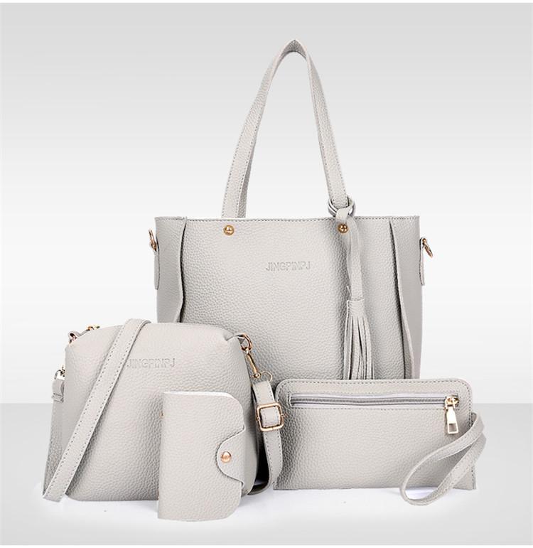 Купить Трендовая женская сумка JingPin 4 в 1 Серая (сумка + клатч + кошелёк косметичка + визитница) AB-1
