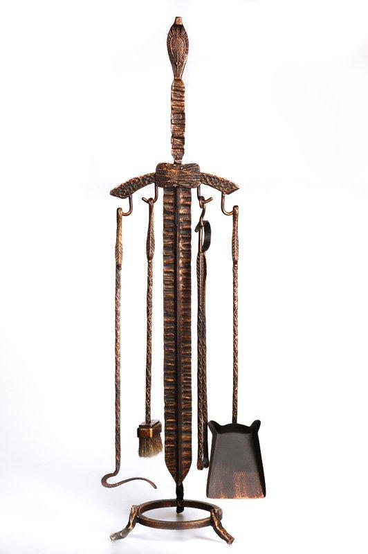 Каминный набор кованый «Меч» (H max = 1050 mm)