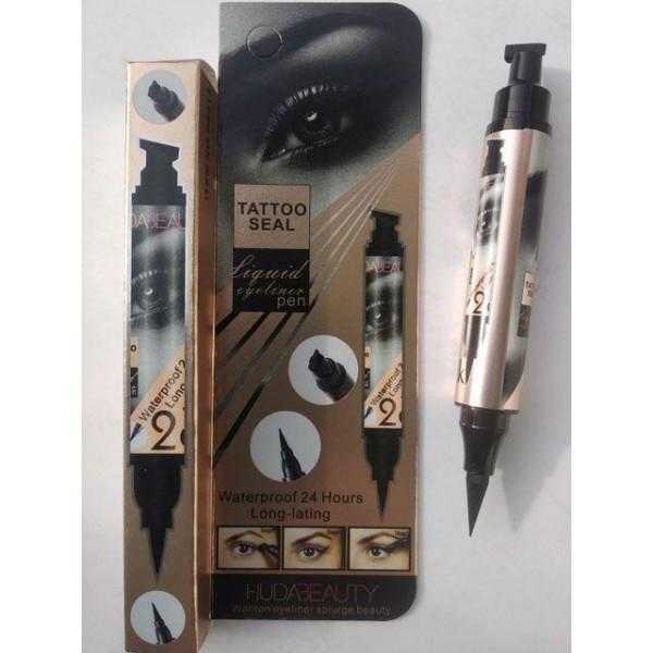 Купить Подводка-маркер Идеальная Стрелка для глаз HudaBeauty Waterproof 2в1 чёрная 5 г