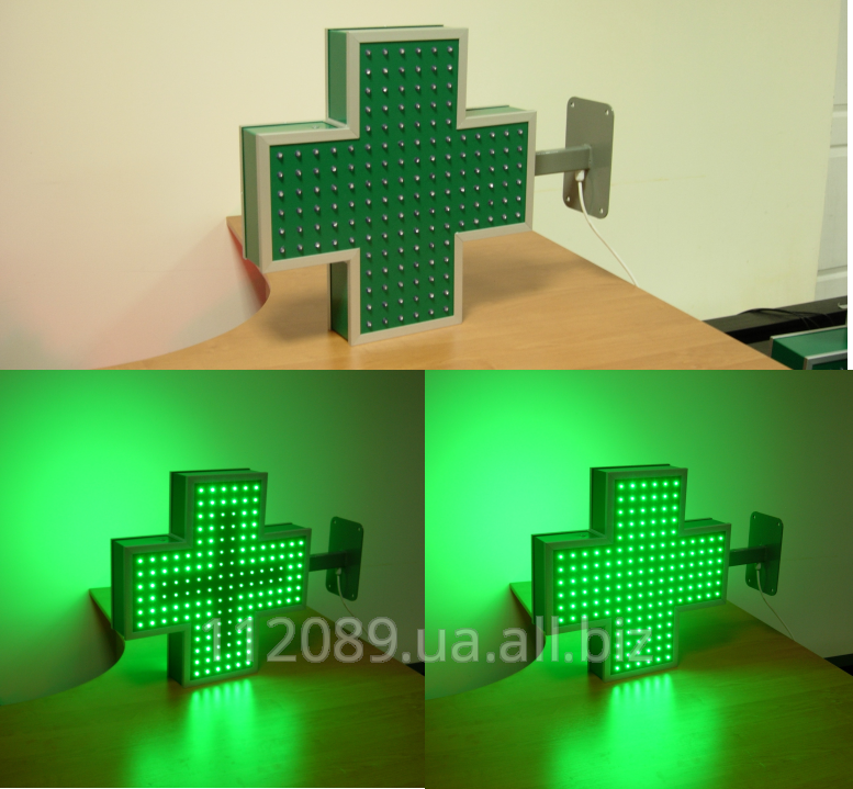 Зеленый светодиодный крест 450х450х80 мм